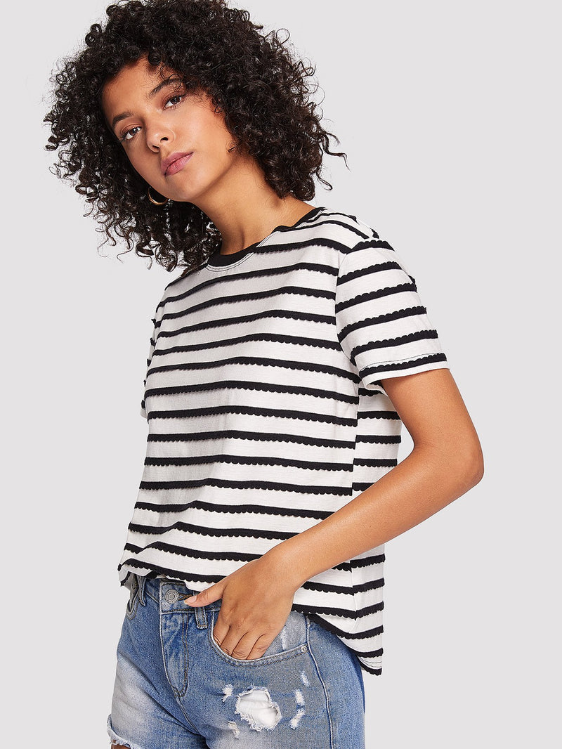 Scalloped Applique Striped Tee