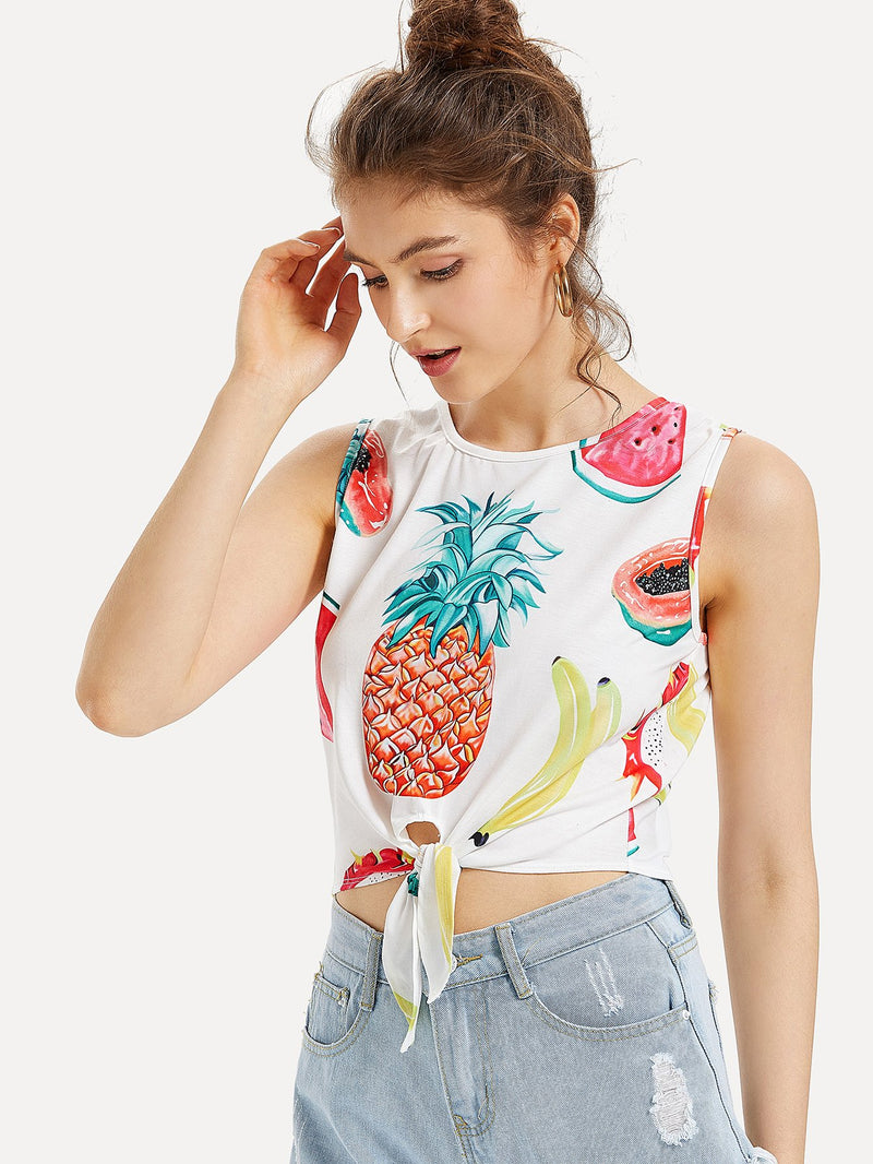 Knot Front Fruit Print Tank Top