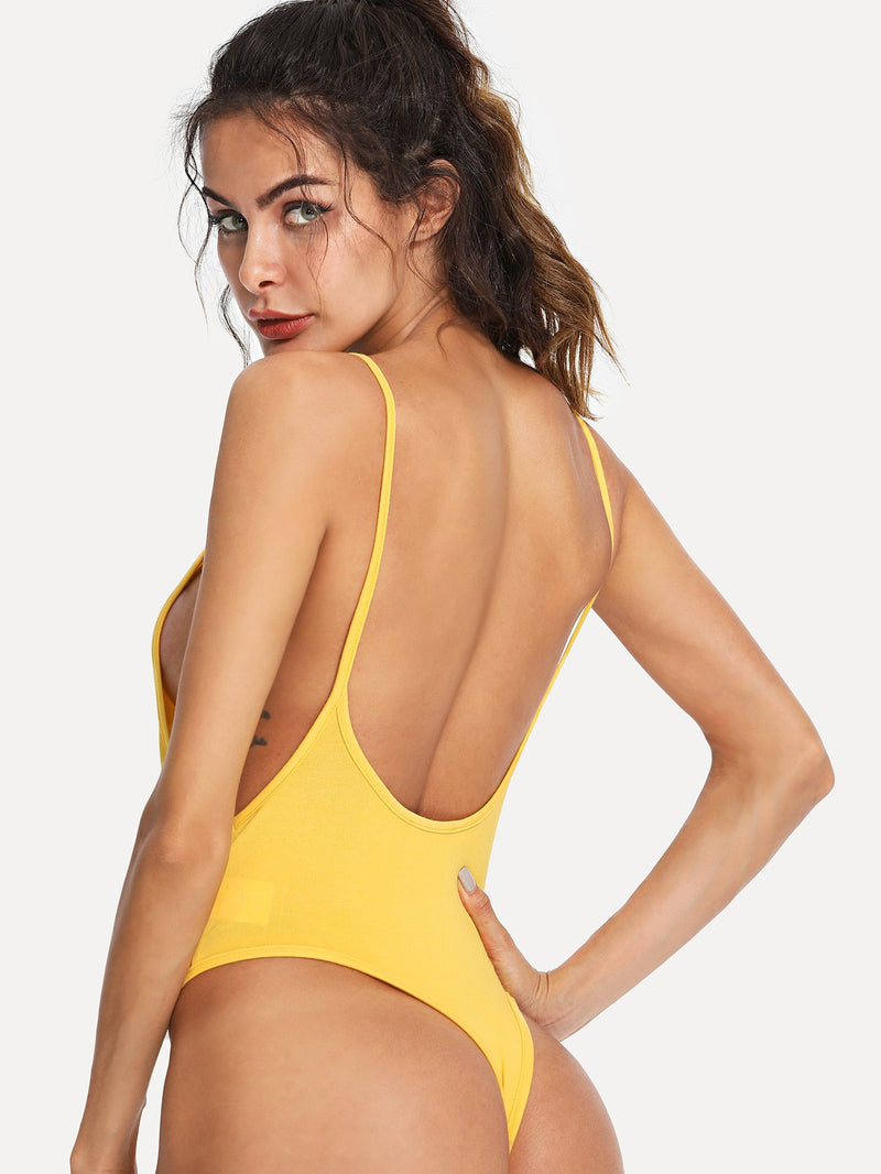 Open Back Solid Cami Bodysuit