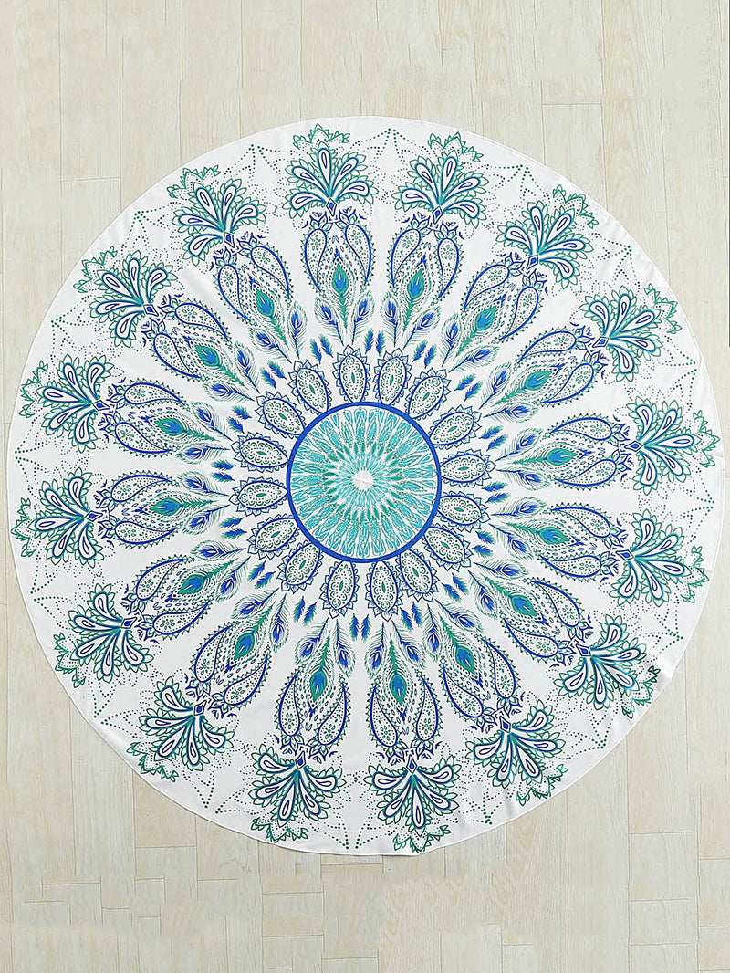 Flower Print Round Beach Blanket