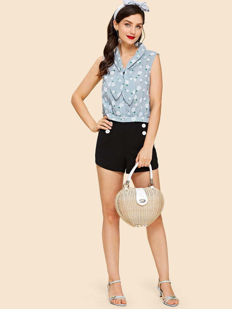 Knotted Shawl Collar Sleeveless Blouse