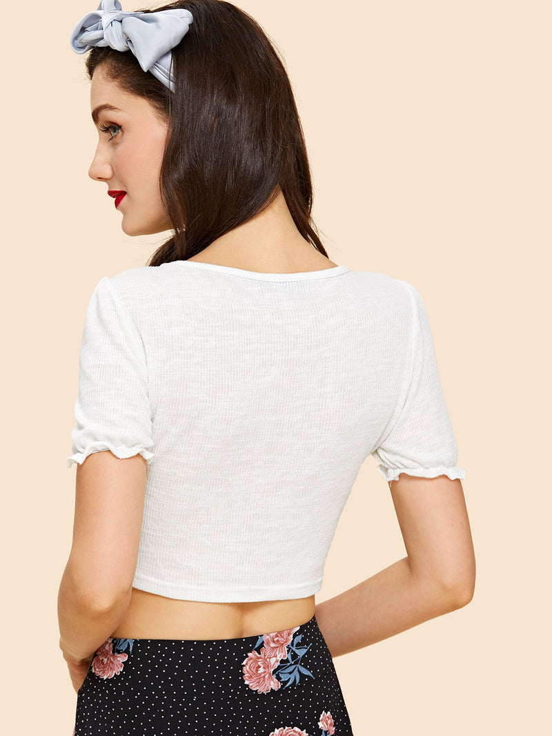 Ruched Neck Frill Sleeve Ribbed Tee