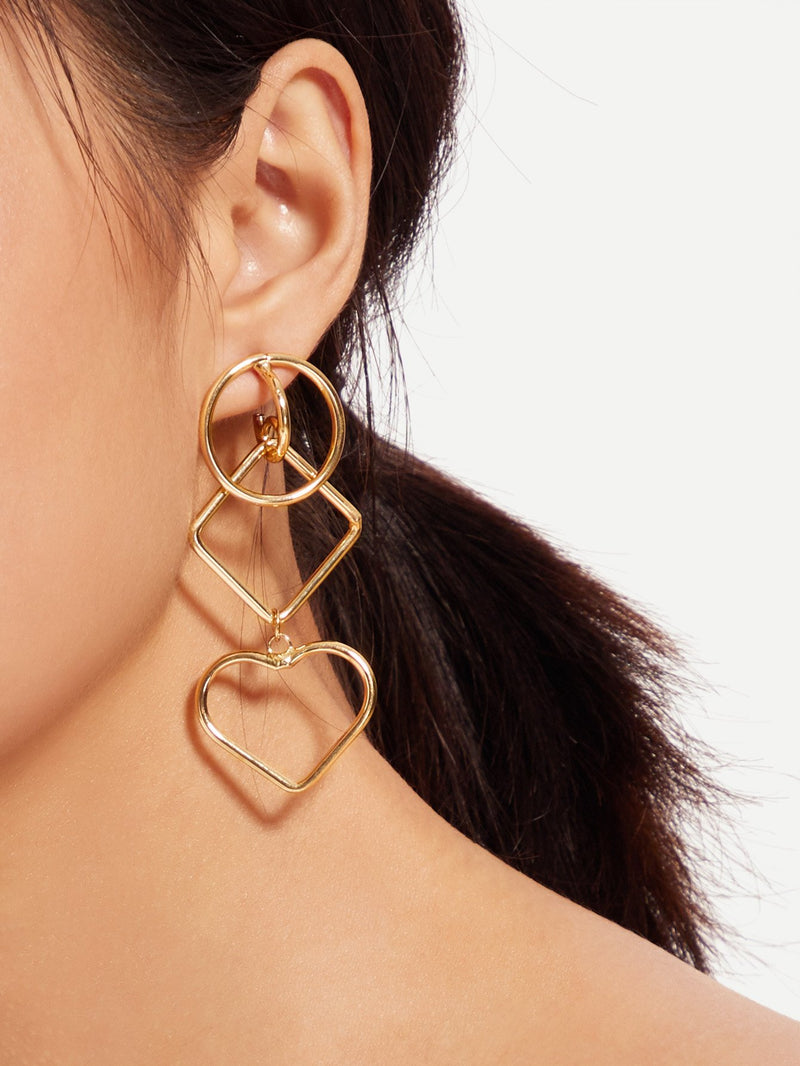 Open Heart Detail Drop Earrings