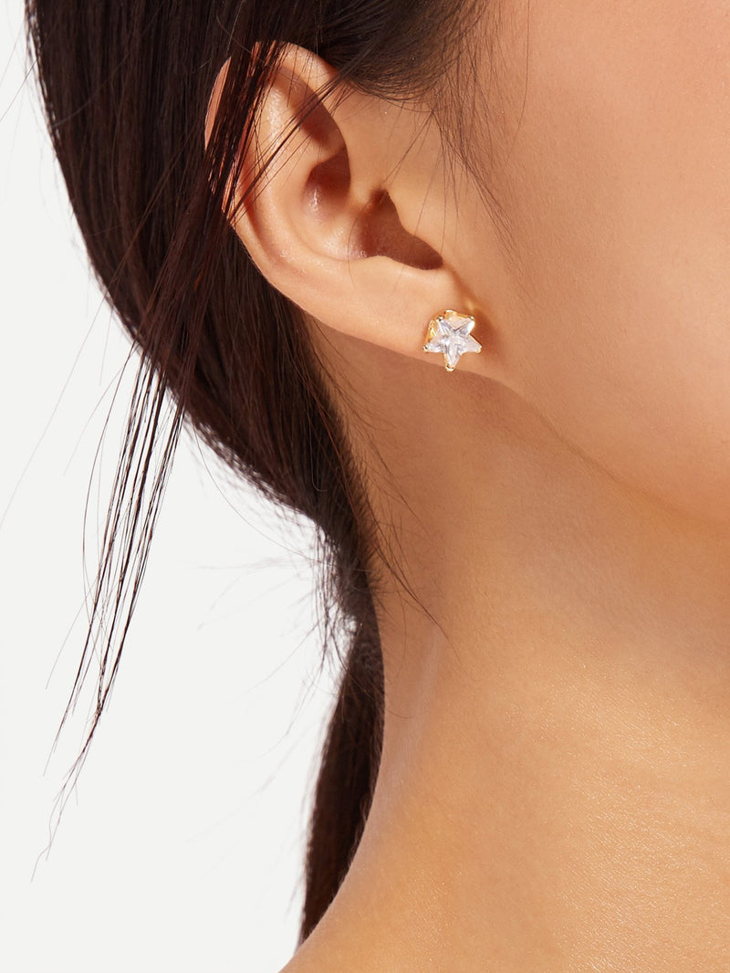 Moon And Star Mismatched Drop Earrings