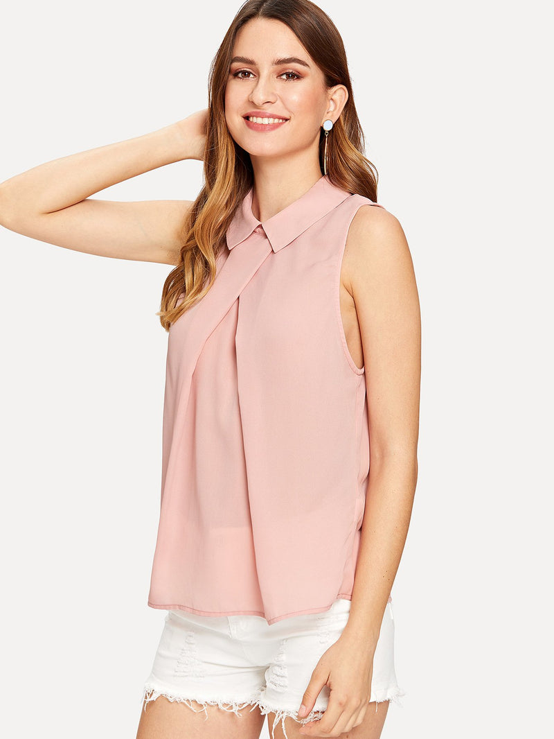Fold Pleat Detail Sleeveless Top