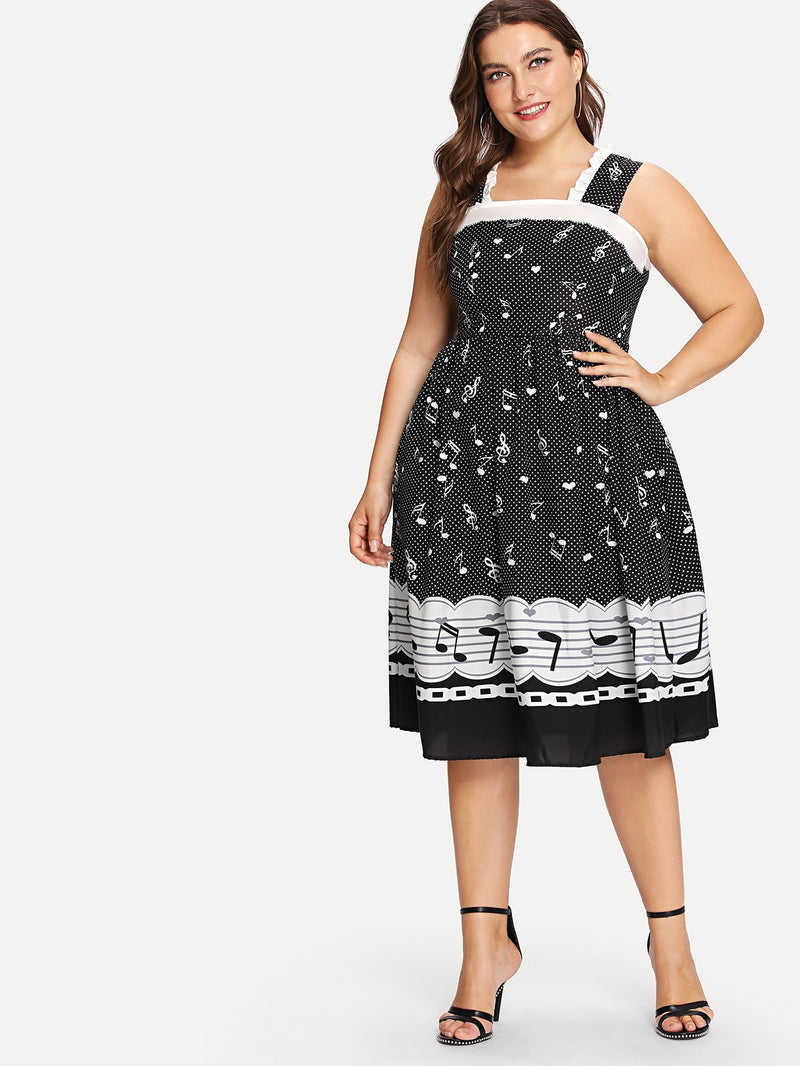 Frilled Thick Strap Music Note Fit & Flare Dress