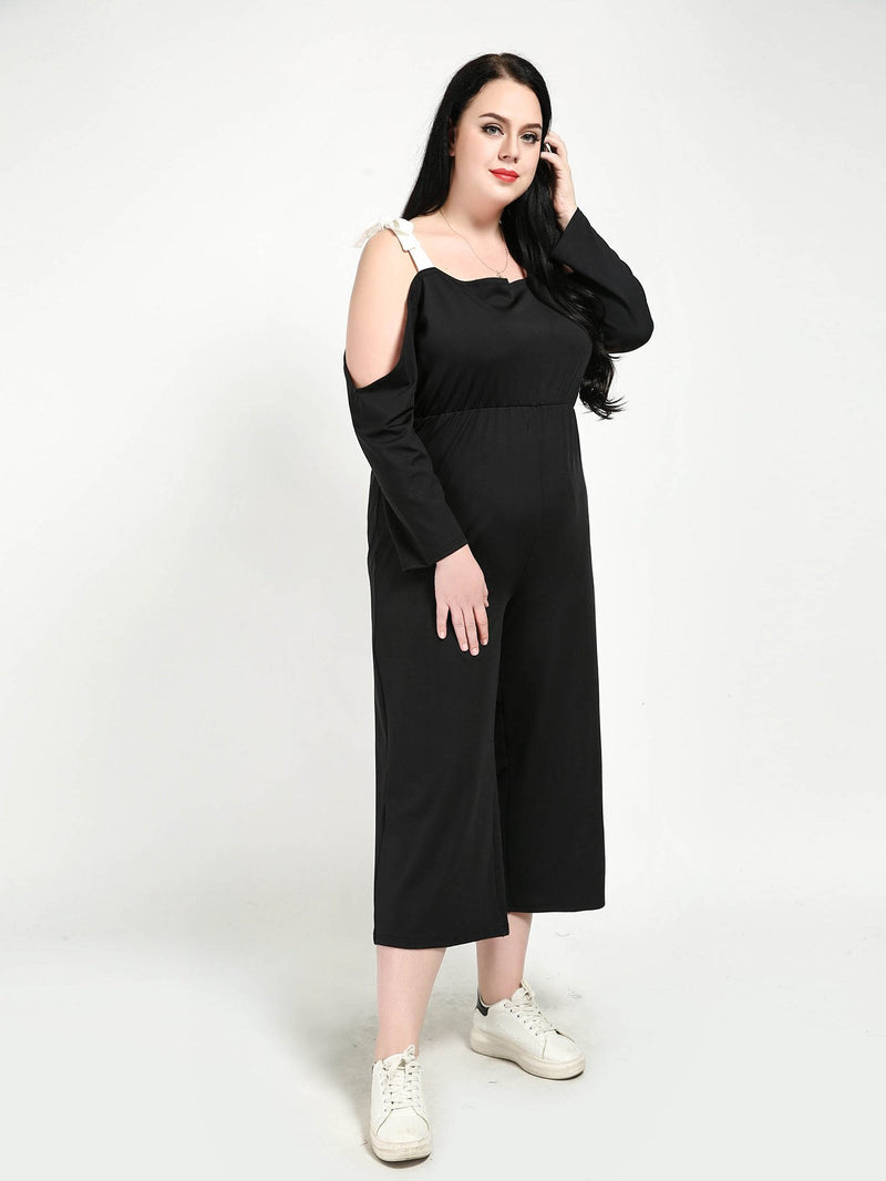 Self Tie Open Shoulder Wide Leg Jumpsuit