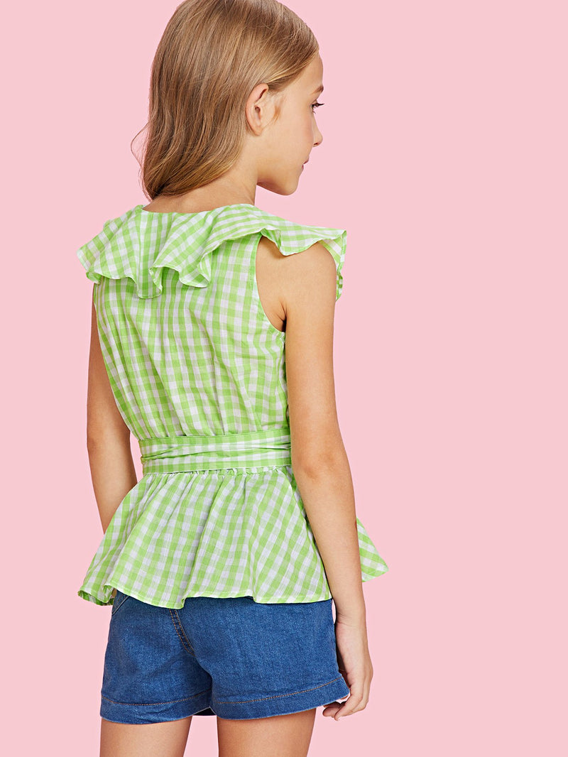 Ruffle Trim Belted Gingham Top