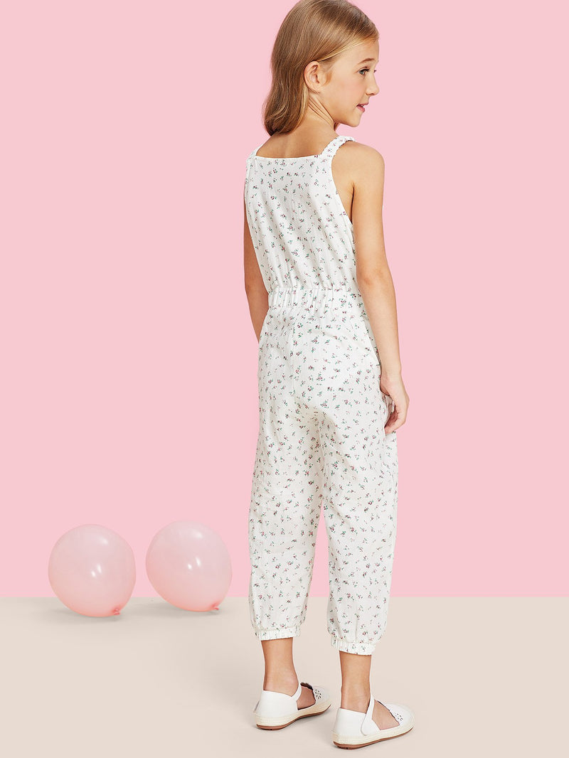 Bow Detail Ditsy Jumpsuit