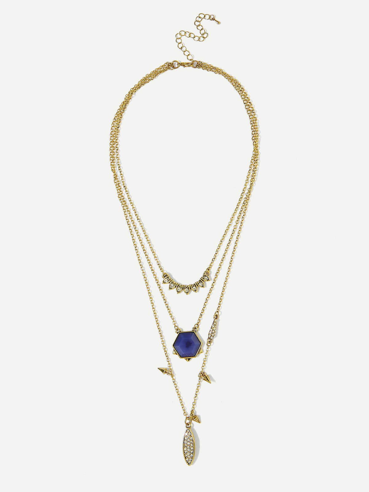 Gemstone Pendant Layered Chain Necklace