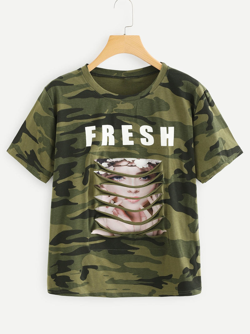 Girl Print Ladder Cut Out Tee