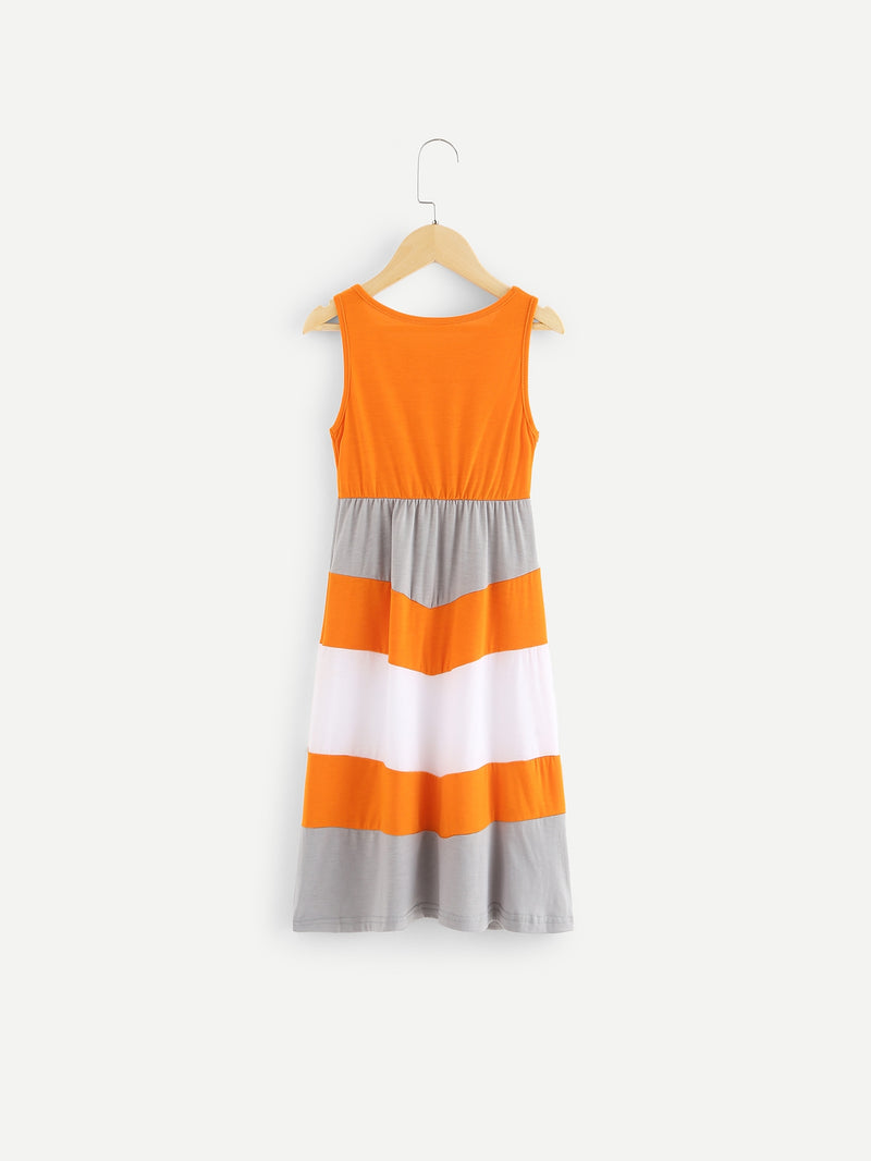 Kids Contrast Panel Colorblock Dress