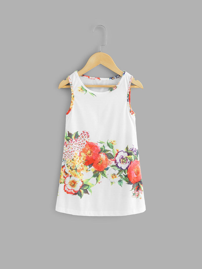 Kids Floral Print Sleeveless Dress