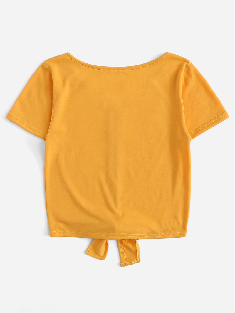 Single Breasted Knot Hem Tee