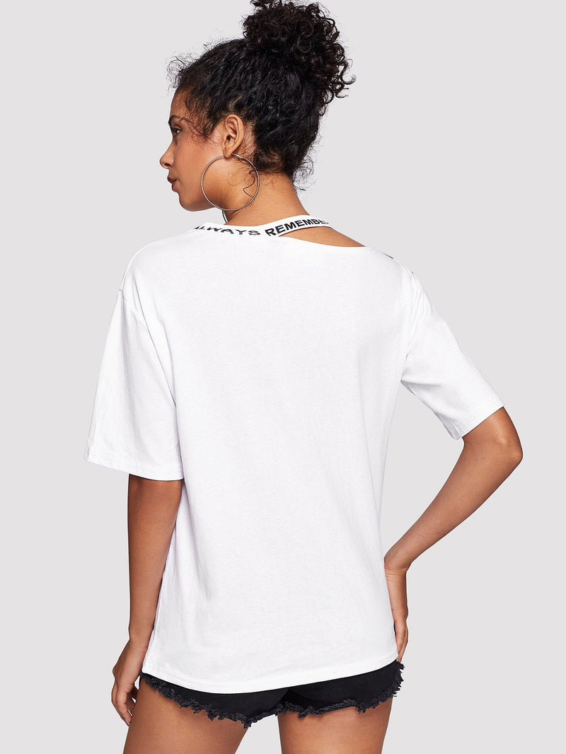 Contrast Panel Cut Out Neck Tee
