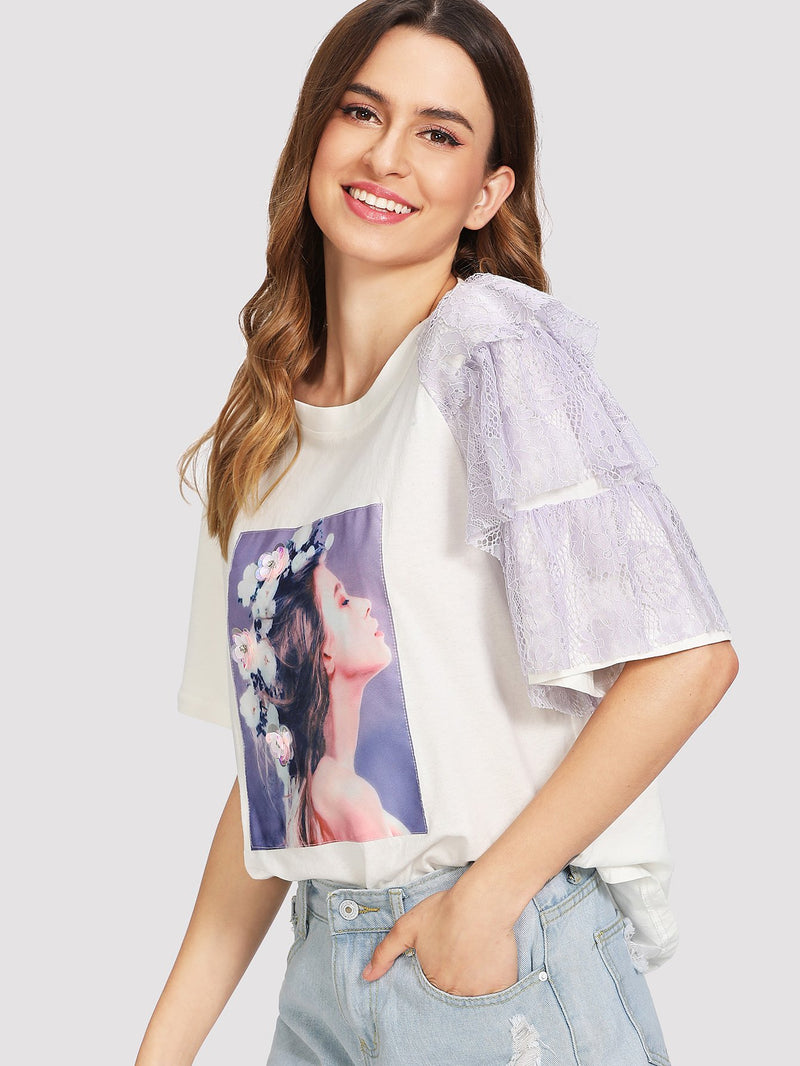 Girl Print Tiered Lace Tee