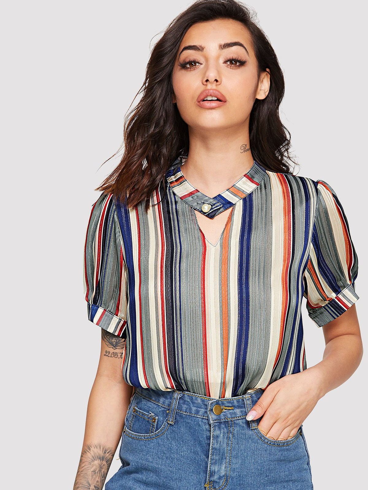 Cut Out Stripe Blouse
