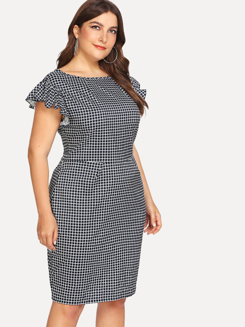 Ruffle Sleeve Checked Dress