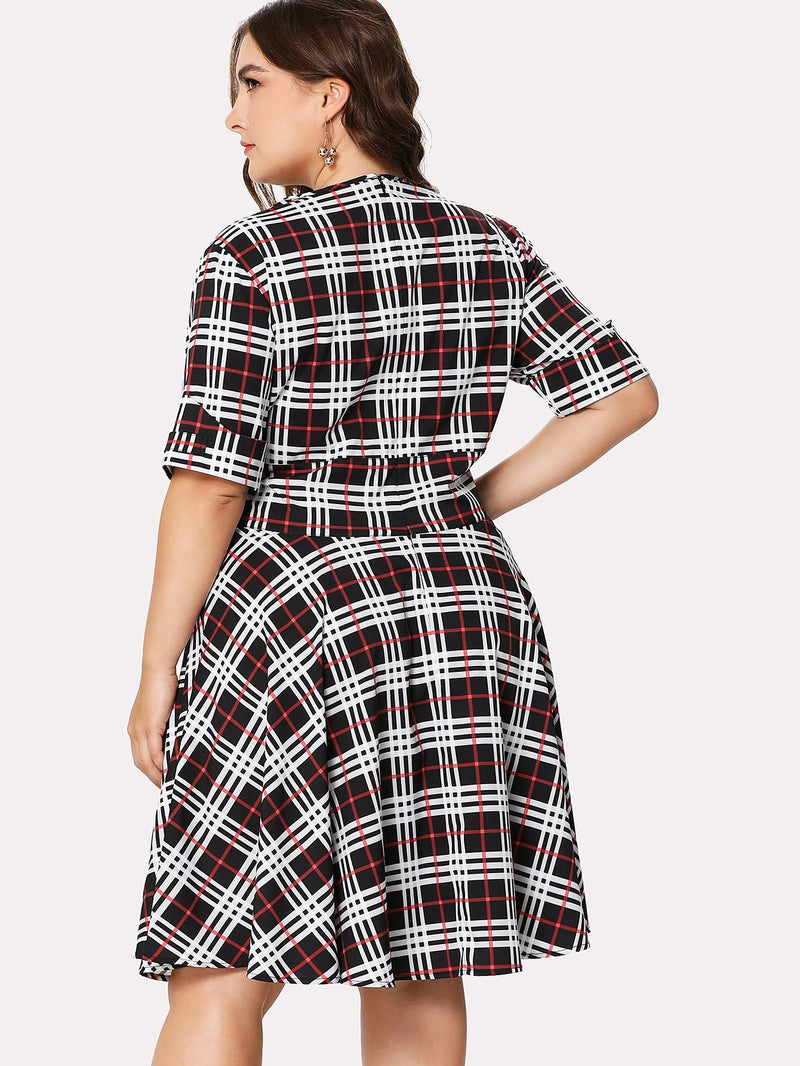 Deep V Neckline Checked Dress