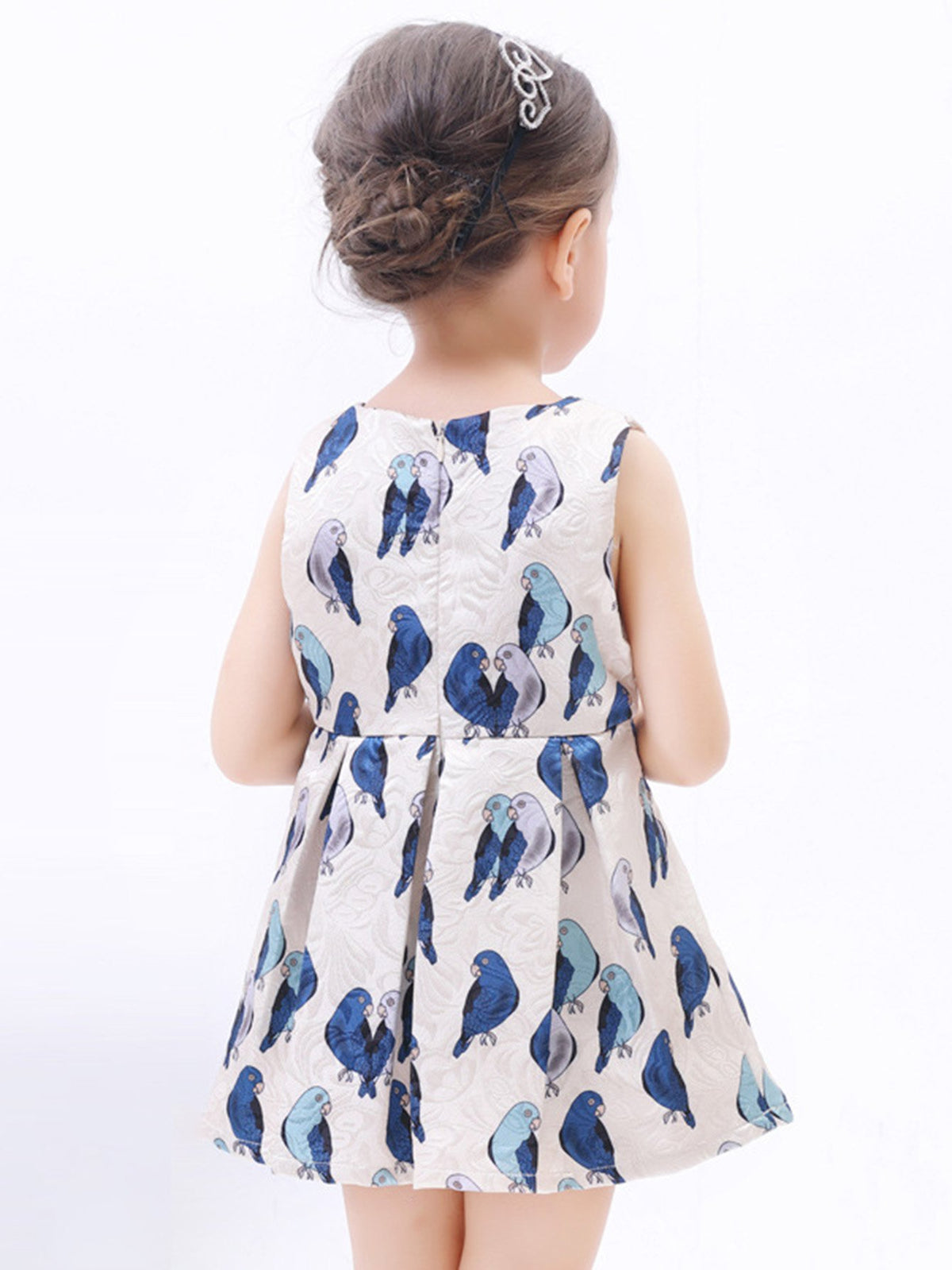 Kids Birds Print Box Pleated Dress