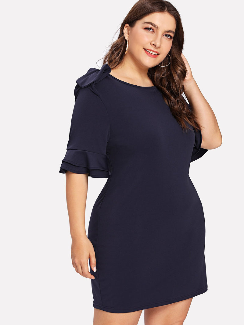 Solid Ruffle Sleeve Dress