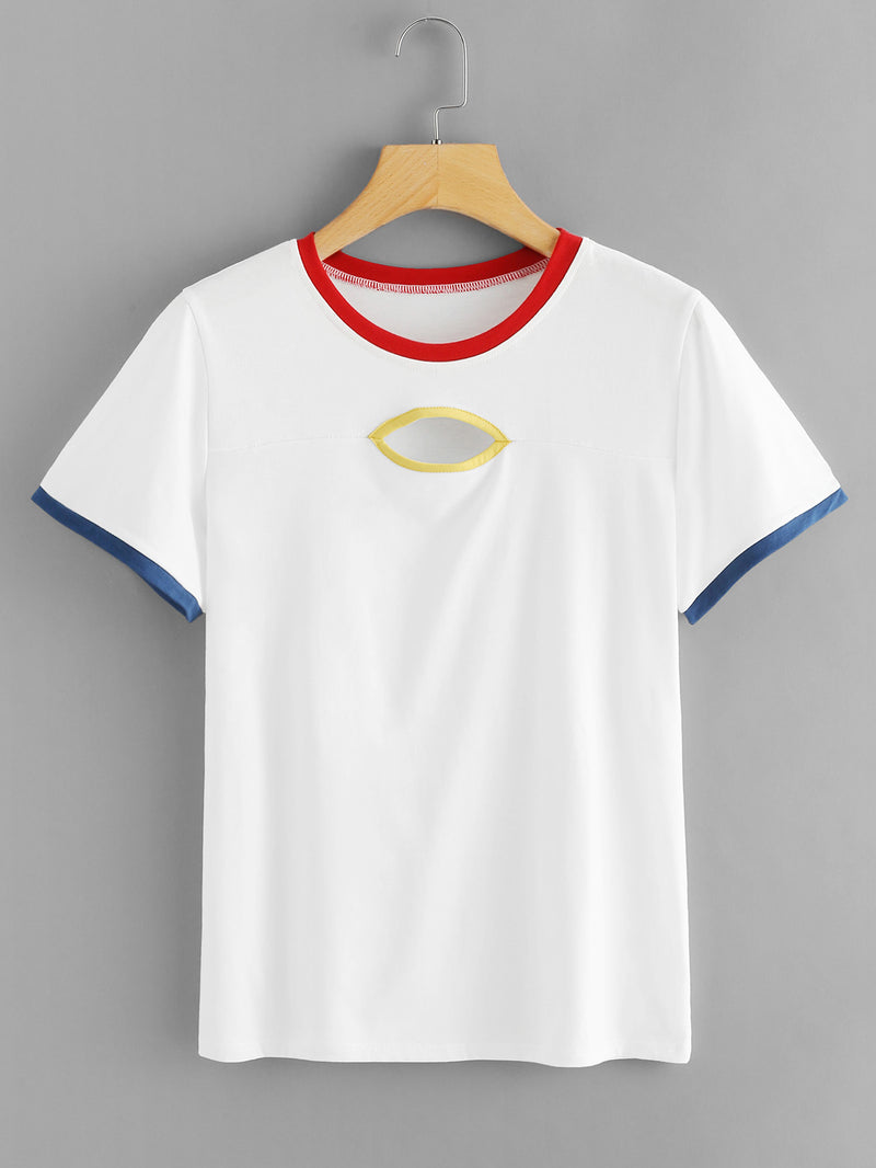 Cutout Front Ringer Tee