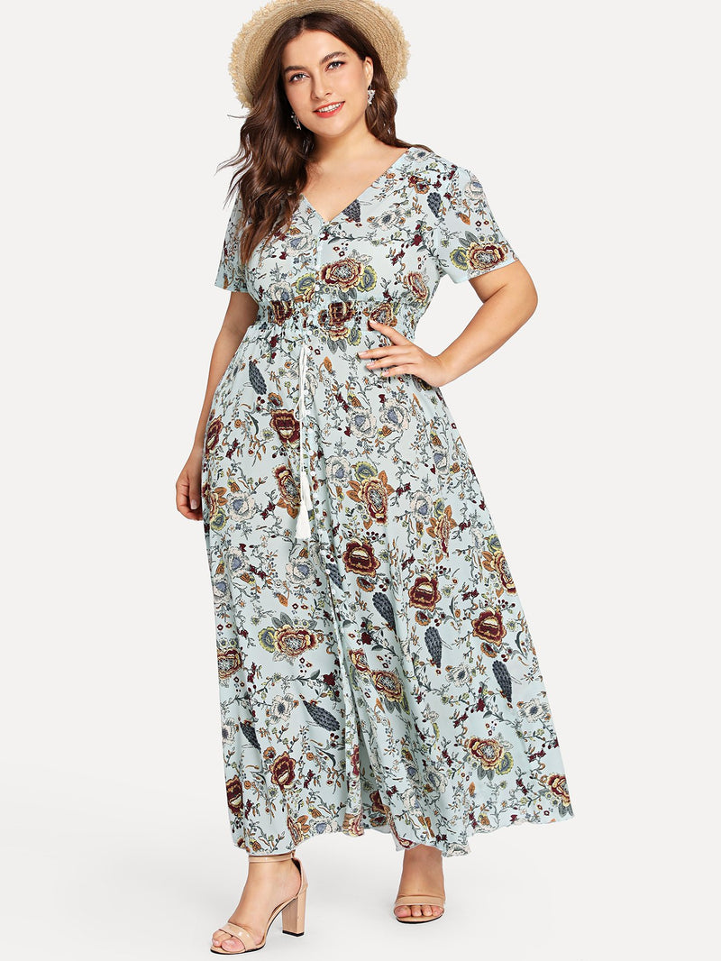 Flower Print Fit & Flared Maxi Dress