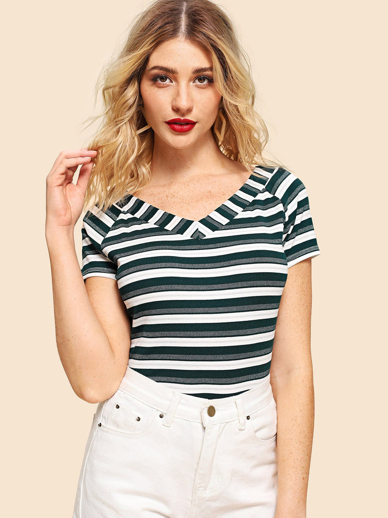 Raglan Sleeve Ribbed Striped T-shirt