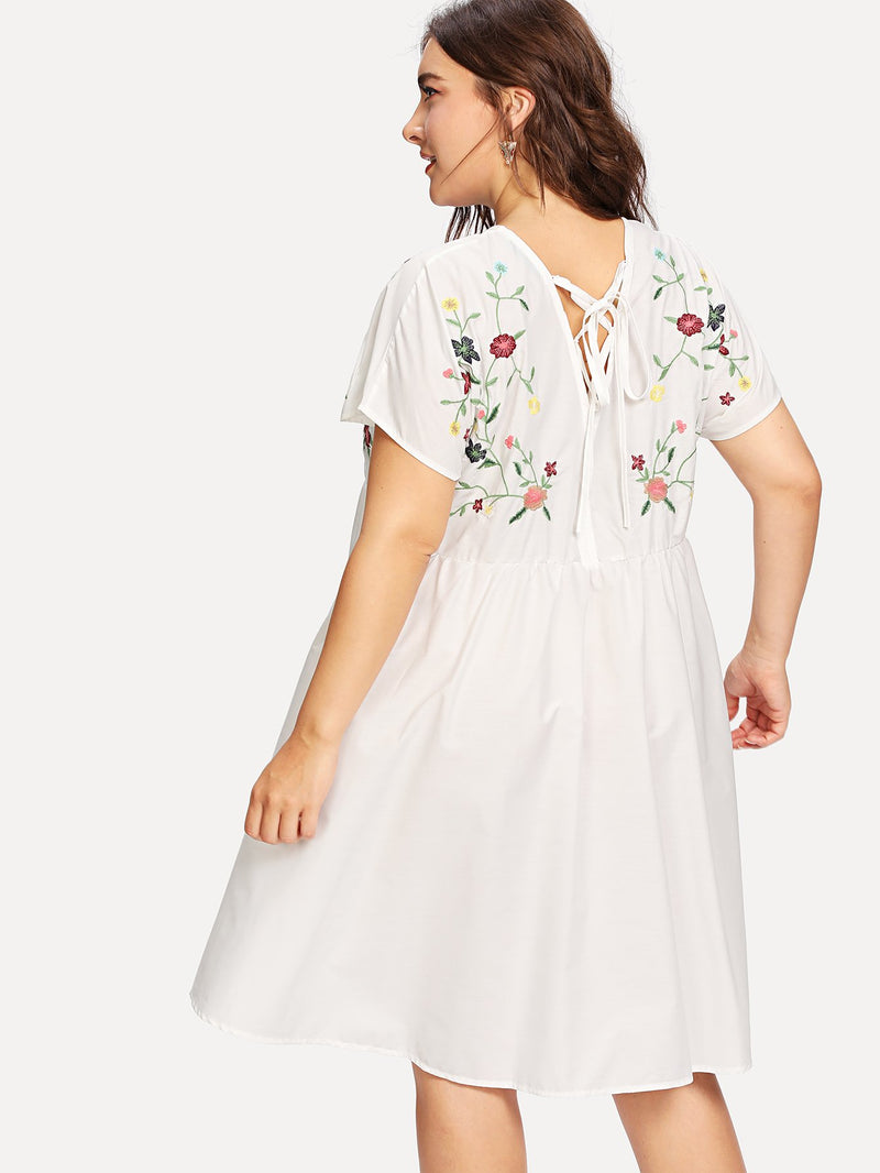 Flutter Sleeve Botanical Embroidery Dress