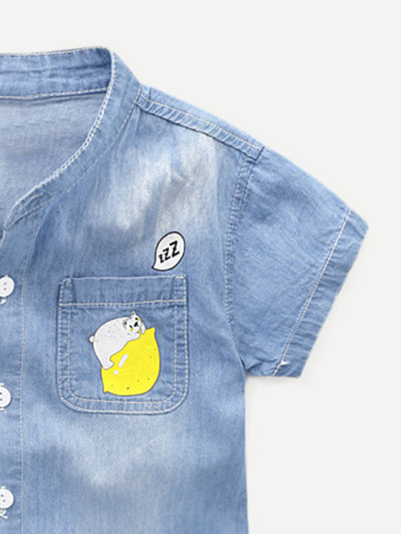 Boys Cartoon Print Denim Shirt