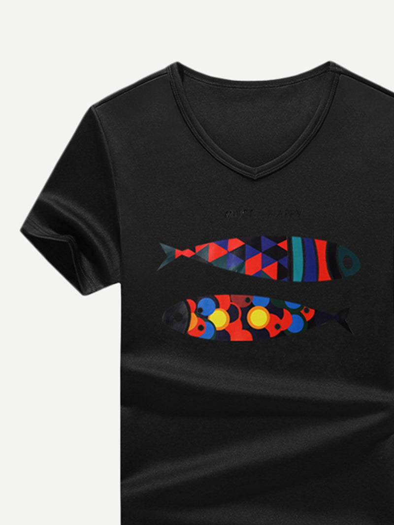 Men Cartoon Fish Print Tee