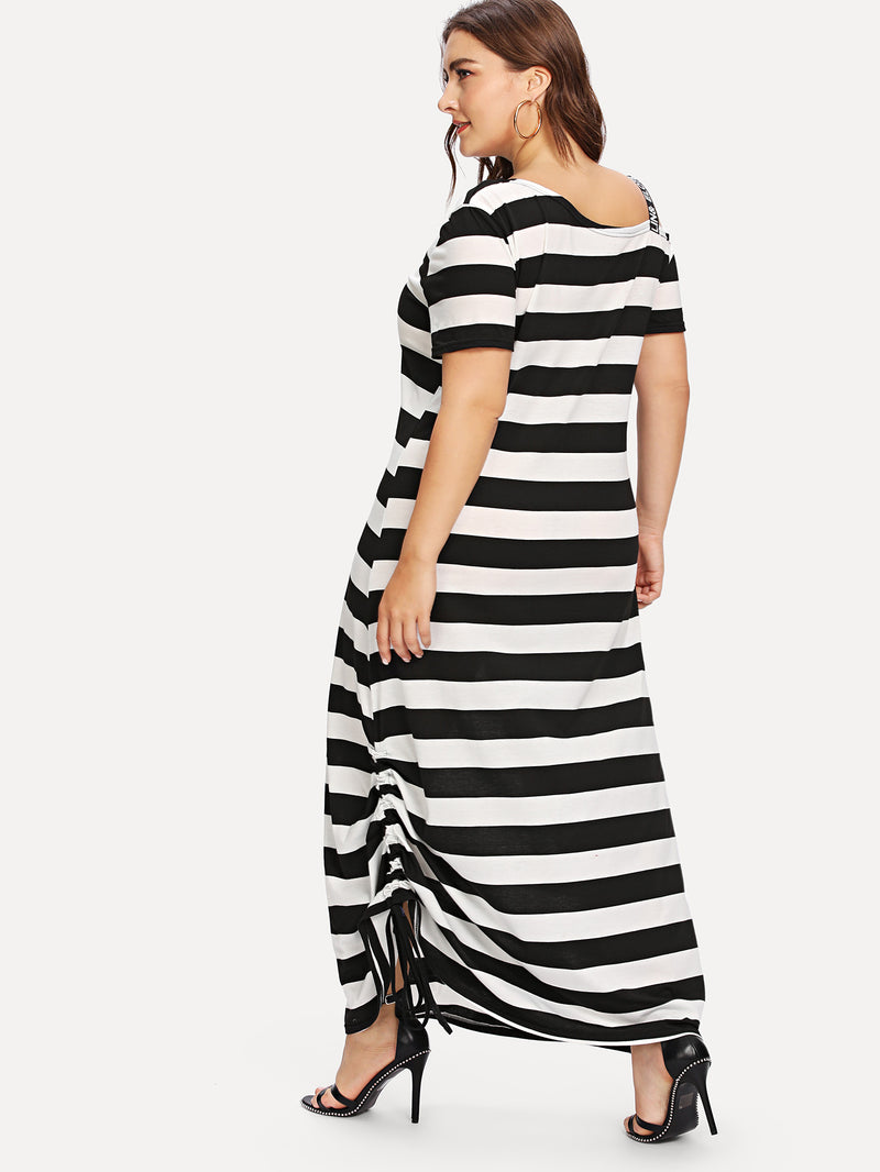 Asymmetrical Neck Drawstring Hem Striped Dress