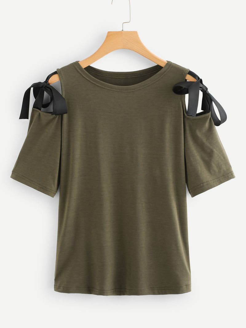 Open Shoulder Bow Tie Detail T-shirt
