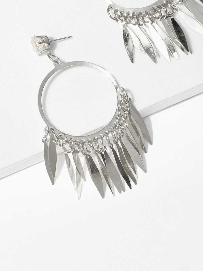 Fringe Detail Hoop Drop Earrings