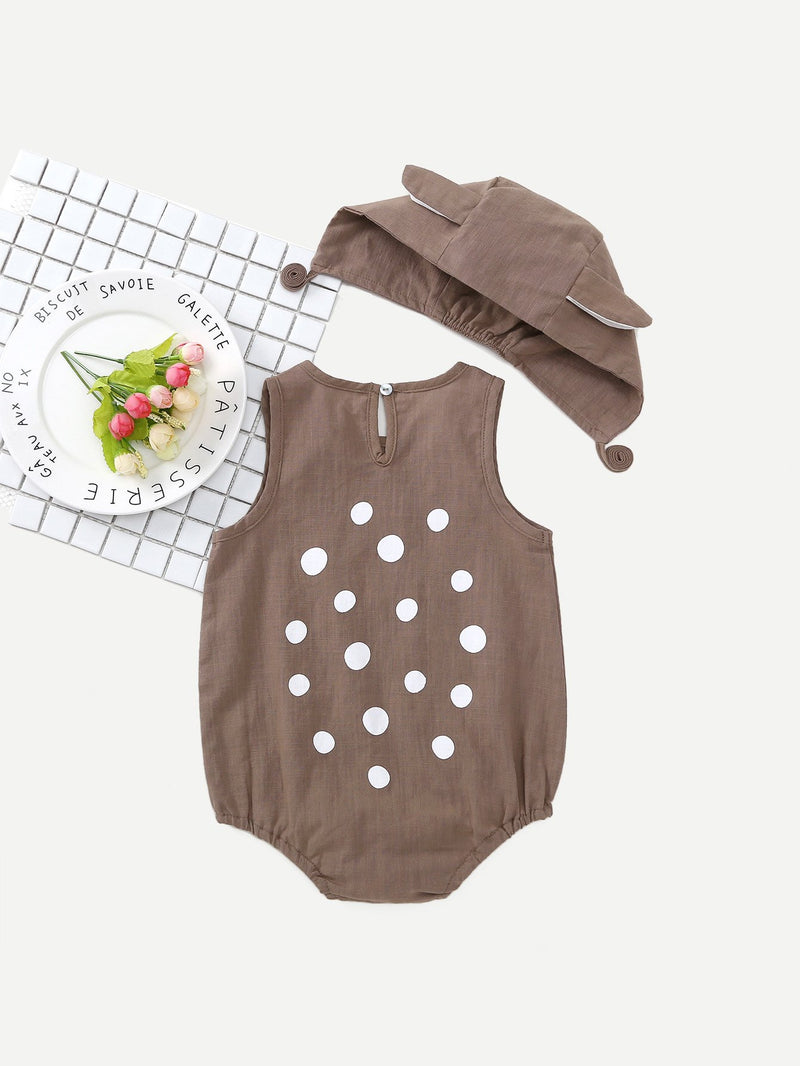 Kids Spot Romper With Cartoon Hat