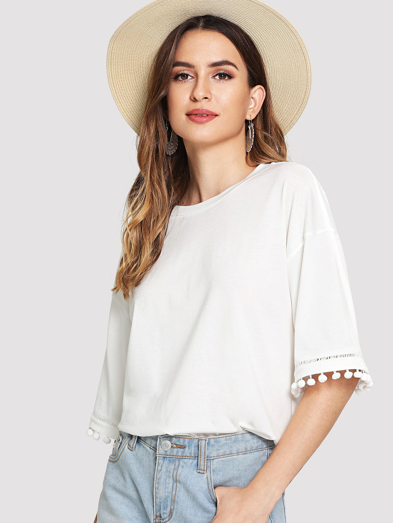 Drop Shoulder Pom Pom Trim Tee