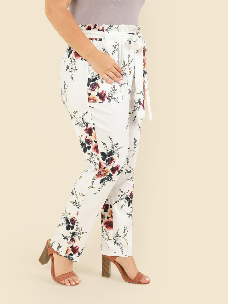 Flower Print Self Belted Pants