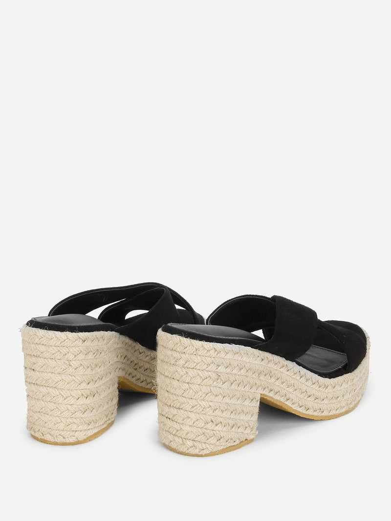 Cross Cross Suede Wedge Sandals