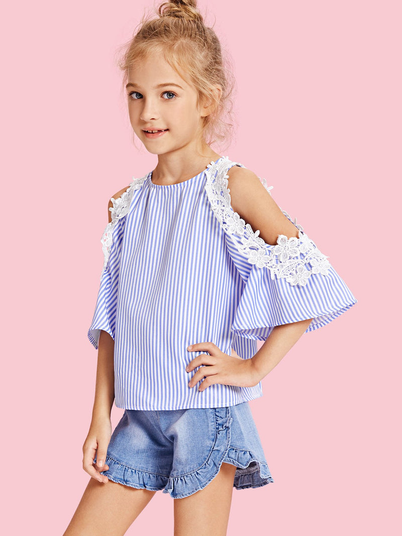 Lace Appliques Open Shoulder Pinstripe Top
