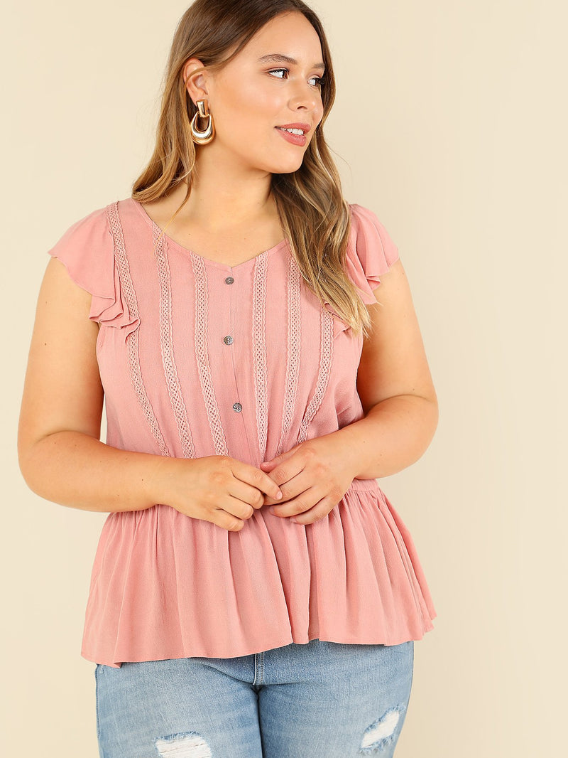 Button Front Ruffle Sleeveless Top