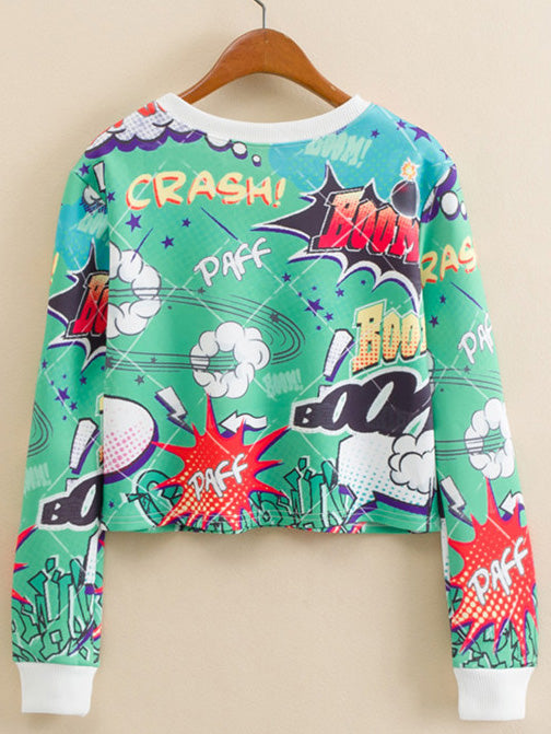 Cartoon Print Crop Pullover