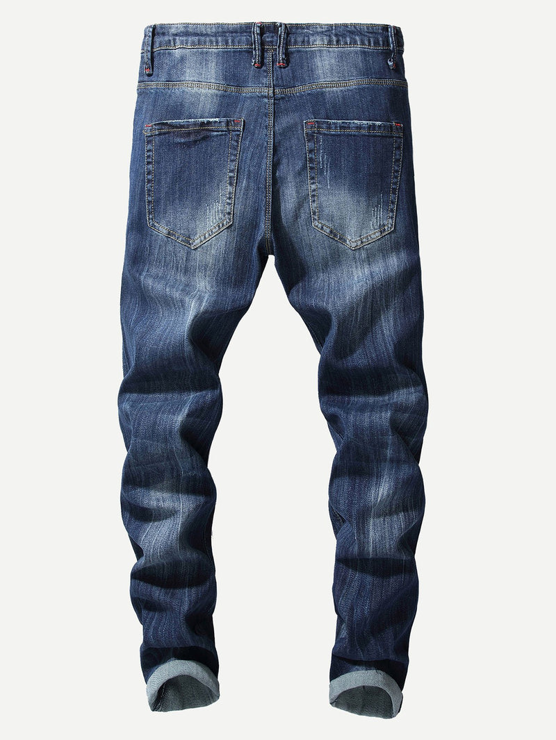 Men Destroyed Embroidery Jeans