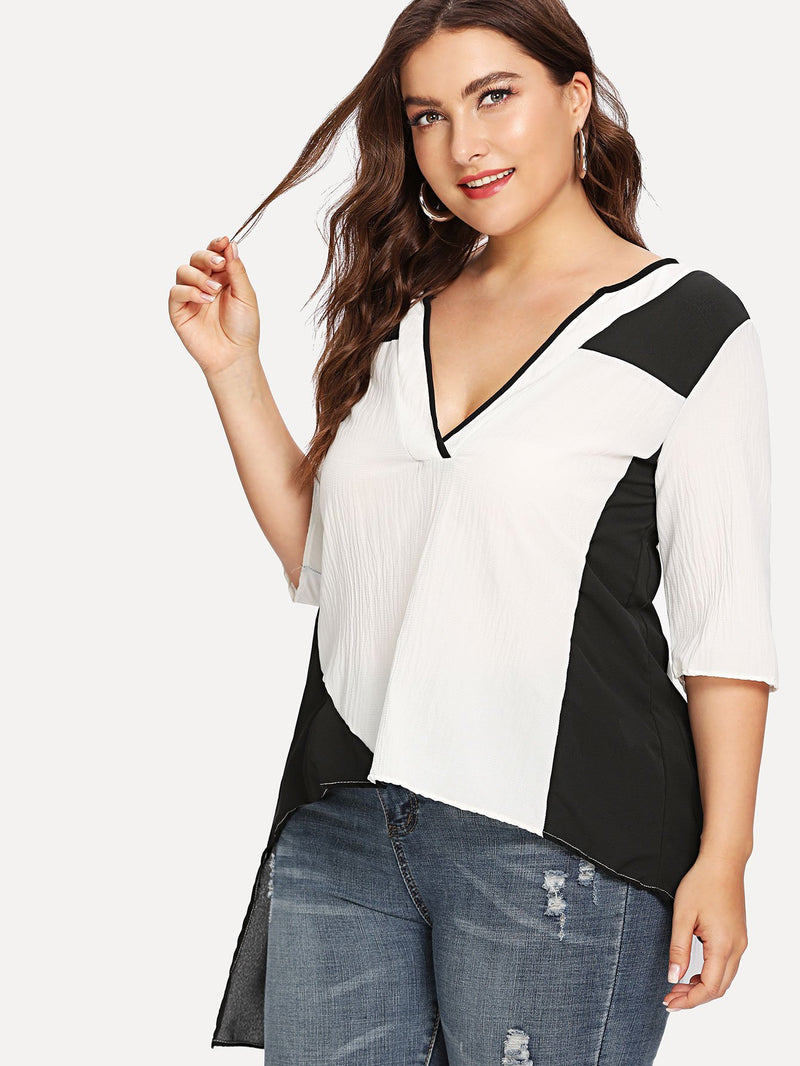 Contrast Binding Color Block Blouse