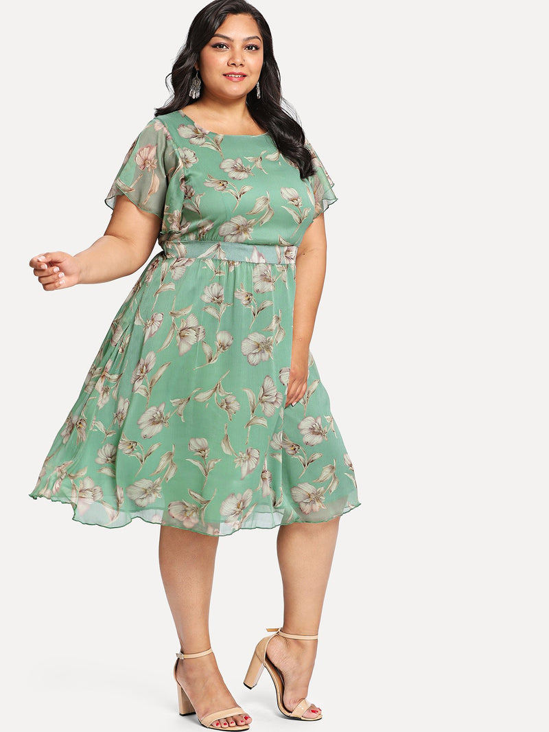 Flutter Sleeve Floral Dress