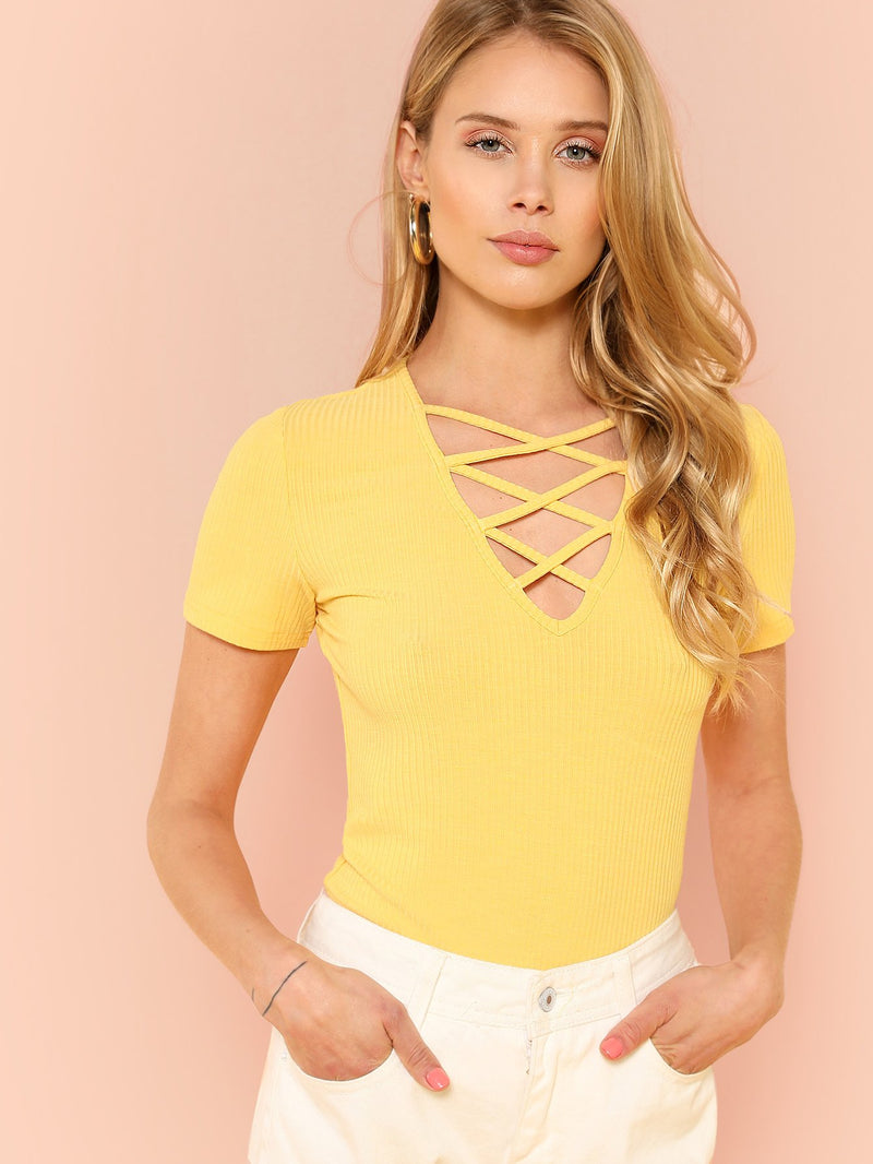 Crisscross V Neck Ribbed Tee