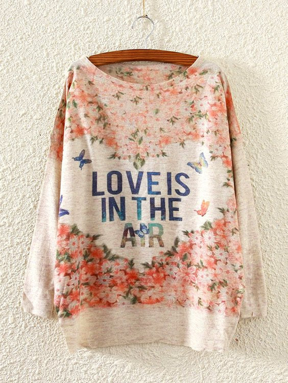 Butterfly & Letter Print Sweater