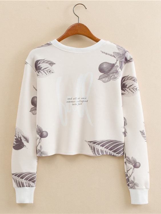 Leaves & Letter Print Crop Pullover