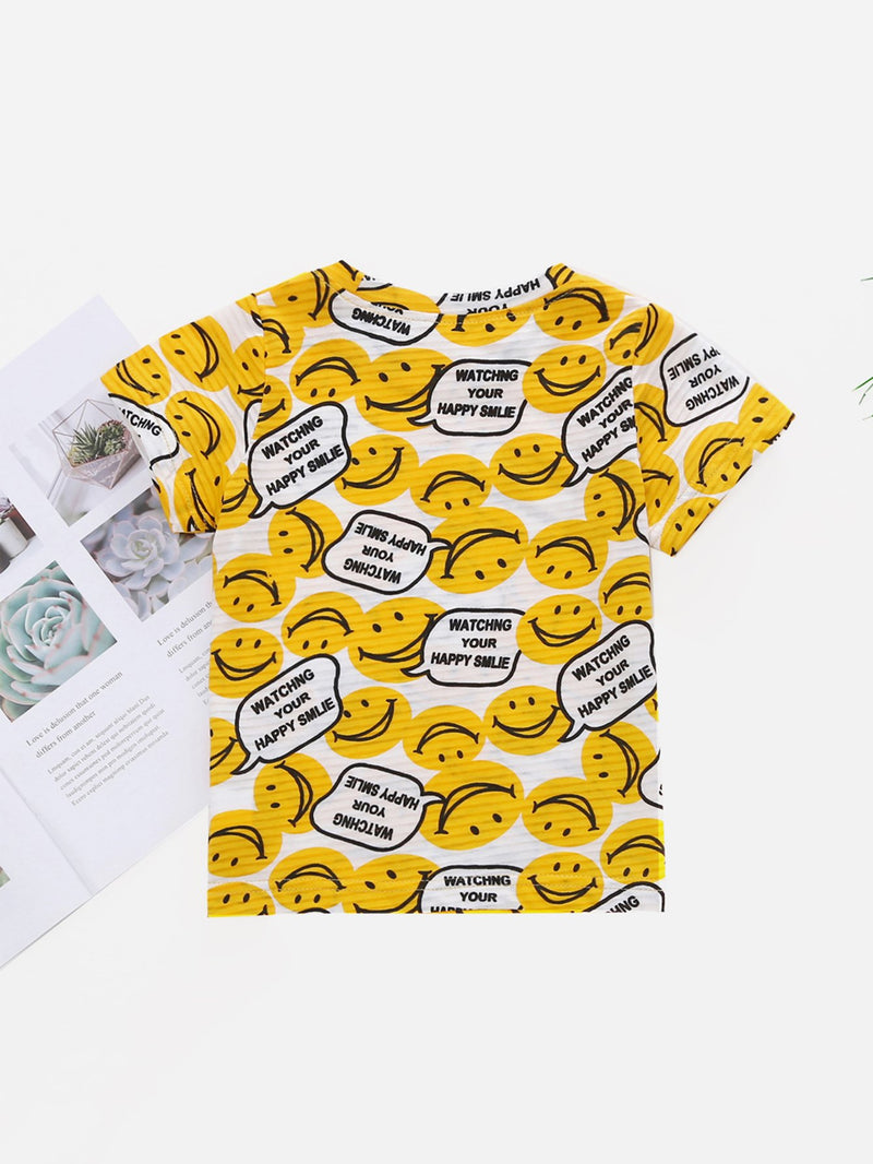 Kids Smile Face Print Tee