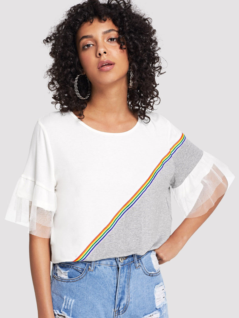 Sheer Mesh Sleeve Striped Tape Tee