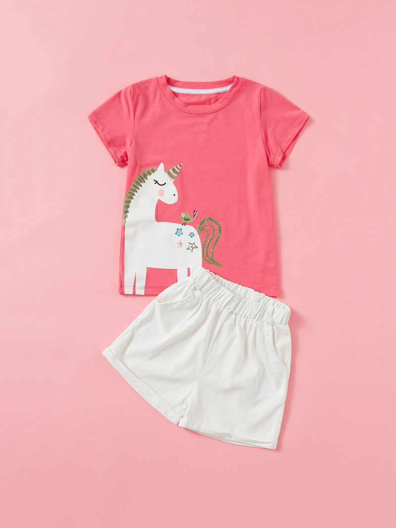 Kids Unicorn Print Tee With Shorts